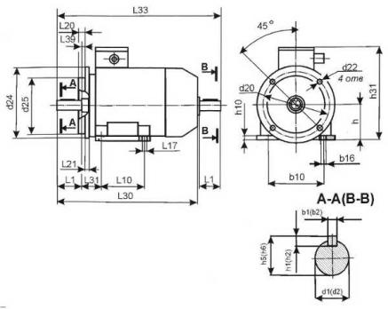Электродвигатель АИР71В6 (0,55кВт,1000Об/мин)